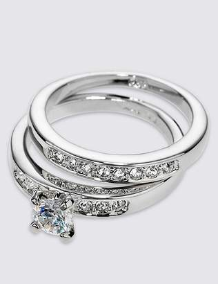 Marks and Spencer Platinum Plated Diamanté Rings