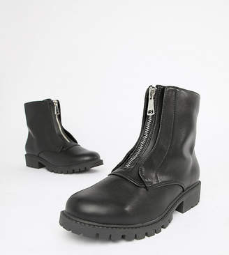 London Rebel Wide Fit Zip Up Chunky Flat Boots