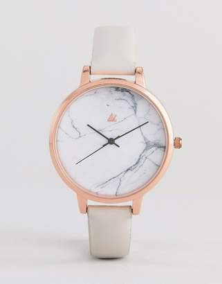 Asos Design DESIGN Tonal Grey Marble Leather Watch