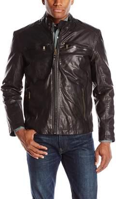 Andrew Marc Men's Vine Lightweight Vintage Leather Moto Jacket