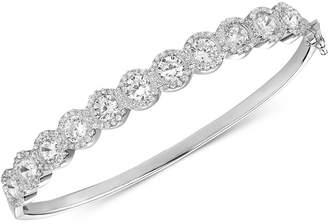 Tiara Cubic Zirconia Halo Bangle Bracelet in Sterling Silver