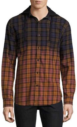 Decree Mens Hooded Neck Long Sleeve Flannel Shirt