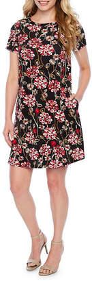 Alyx Short Sleeve Floral Shift Dress-Petite