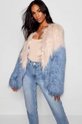 boohoo Tall Two Tone Shaggy Faux Fur Jacket