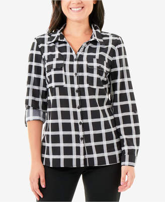NY Collection Printed Roll-Tab Button-Up Blouse