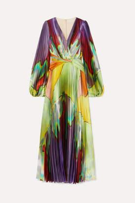 Peter Pilotto Pleated Printed Stretch-silk Maxi Dress - Green