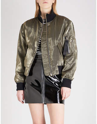 Mo&Co. Metallic shell bomber jacket