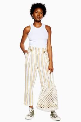 Topshop Womens Petite Linen Blend Stripe Peg Trousers - Lemon