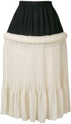 drop-waist knife-pleat skirt