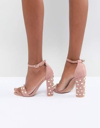 Glamorous Blush Block Heeled Sandals With Pearl Embellishment