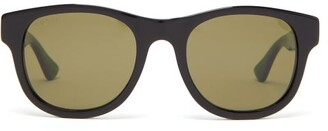 Gucci Web Stripe Arms Square Acetate Sunglasses - Mens - Black