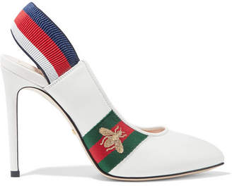 Gucci Sylvie Grosgrain-trimmed Leather Slingback Pumps - White