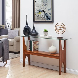 Mid-Century MODERN Southern Enterprises Sokki Narrow Console Table, Midcentury Modern Style, Dark Sienna