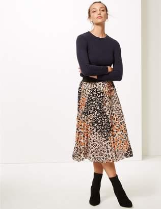 Marks and Spencer Animal Print Pleat Midi Skirt