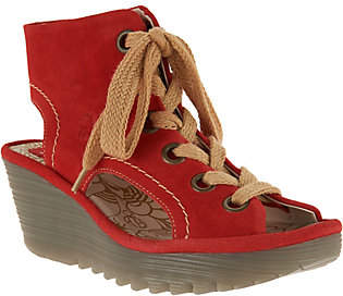 Nobrand NO BRAND FLY London Suede Lace-up Wedges - Yaba