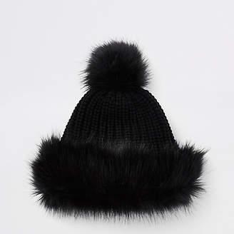 River Island Girls black faux fur trim bobble hat