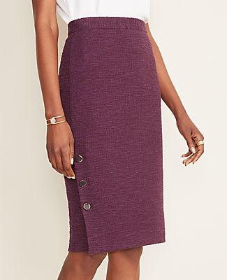Ann Taylor Petite Textured Button Pencil Skirt