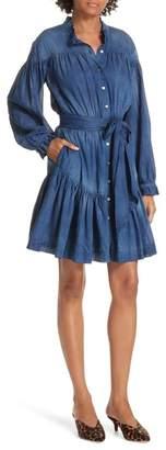 Rebecca Taylor Tissue Denim Ruffle Minidress