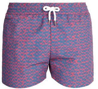 Frescobol Carioca - Sports Wave Print Swim Shorts - Mens - Pink Multi