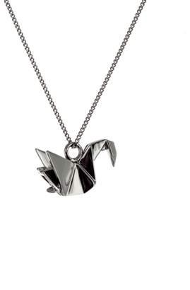 Origami Jewellery Mini Swan Necklace Gun Metal