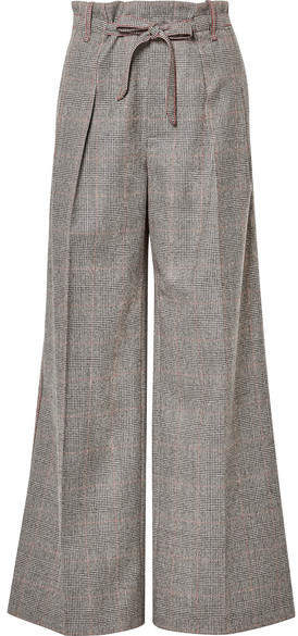 Roland Mouret - Woodcourt Belted Houndstooth Wool Wide-leg Pants - Gray