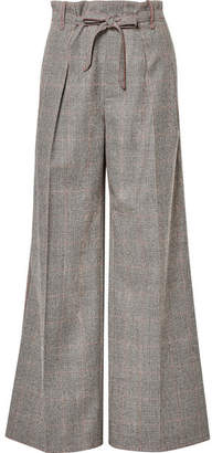 Roland Mouret Woodcourt Belted Prince Of Wales Checked Wool Wide-leg Pants - Gray