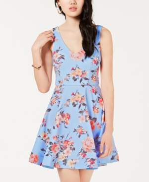 B. Darlin Juniors' Floral-Print Fit & Flare Dress, Created for Macy's