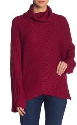 Andrea Jovine Cowl Neck Ribbed Chevron Sweater