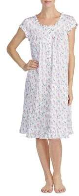 Eileen West Ruffle-Trimmed Floral Nightgown
