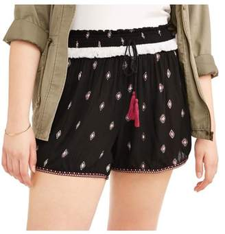 POOF Juniors' Plus Printed Soft Shorts with Tassel Tie and Pom Pom Trim