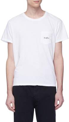 Second/Layer Logo embroidered pocket cotton-linen T-shirt