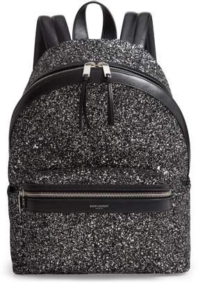 Saint Laurent Mini City Glitter Backpack