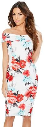 Quiz Cream And Coral Floral Dress