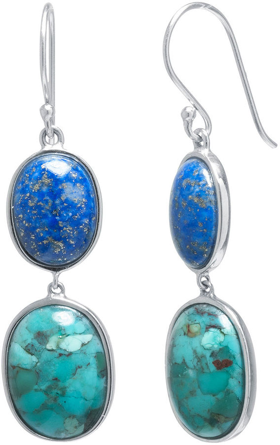 FINE JEWELRY Enhanced Turquoise and Dyed Lapis Sterling Silver Oval Double-Drop Earrings