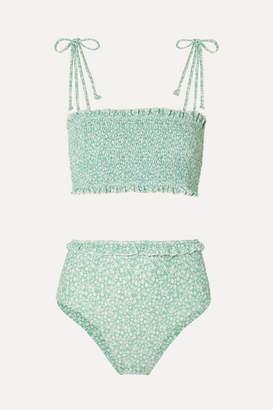 Faithfull The Brand Adeline And Wildflower Smocked Floral-print Bikini - Mint