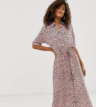 New Look Tall shirt dress in pink polka dot
