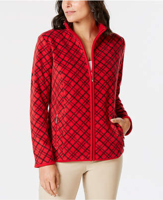 Karen Scott Petite Casual Plaid Zip-Front Jacket