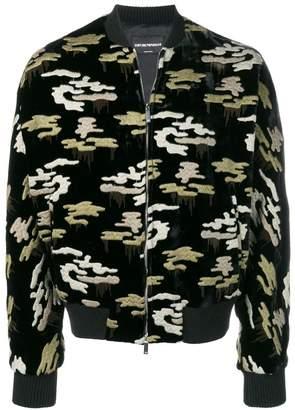 Emporio Armani embroidered camouflage bomber jacket