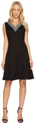 Ellen Tracy Fit Flare Pique Dress with V-Neck Women's Dress