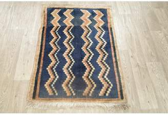 Blue Area Ebern Designs Vintage Geometric Gabbeh Persian Design Navy Rug Hand-Knotted Oriental Kitchen Carpet 3 X 3 (3' 5'' X 2' 6'') Ebern Designs