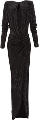 Alexandre Vauthier Shimmer V-Neck Gown
