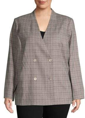 Calvin Klein Plus Classic Plaid Blazer