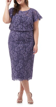 JS Collections Embroidered Lace Blouson Dress