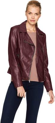 Kenneth Cole New York Kenneth Cole Women's Distressed Vegan Leather Moto with Zipper Details