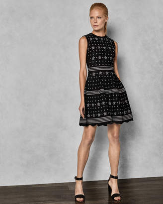 Ted Baker LALLYO Star jacquard lurex knitted dress