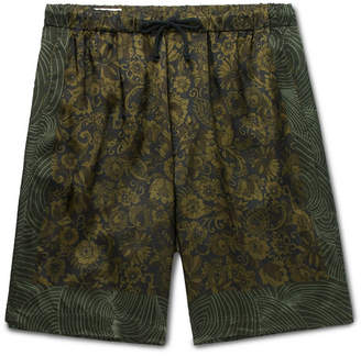 Dries Van Noten Wide-Leg Printed Satin Drawstring Shorts