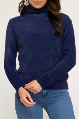She + Sky LS Turtleneck Fuzzy Sweater