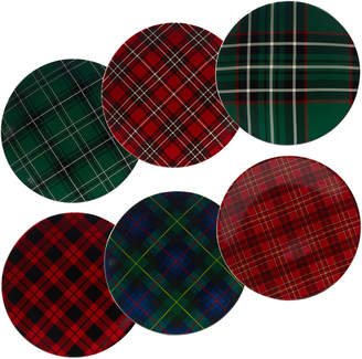 Certified International Christmas Plaid Set Of 6 Dinner Plate