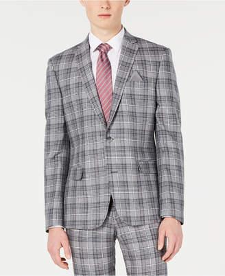Bar III Men Slim-Fit Linen Gray Plaid Suit Jacket