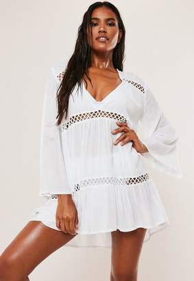 Missguided White Crochet Inset Oversized Beach Cover Up Dress